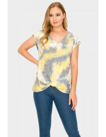 Tie Dye V Neck Twist Front Yellow Grey
