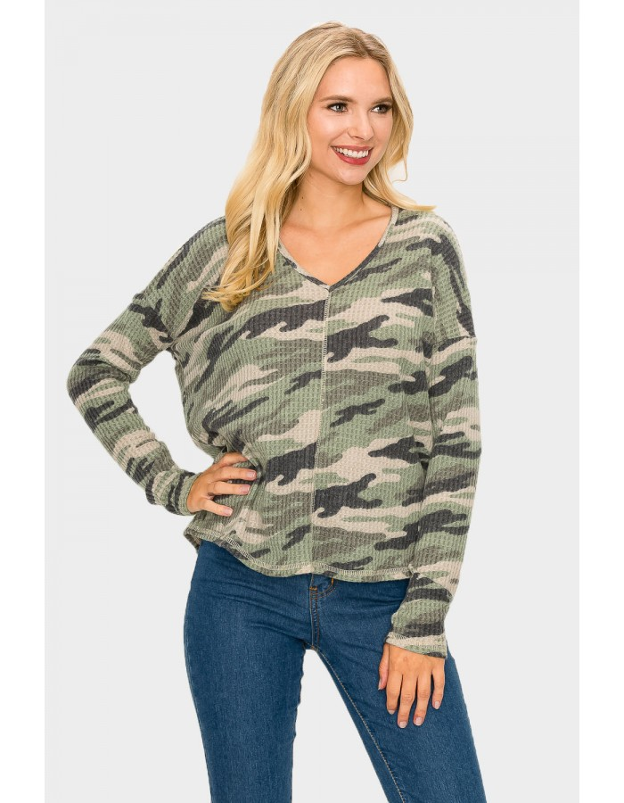 Camo Brushed V-Neck Dolman