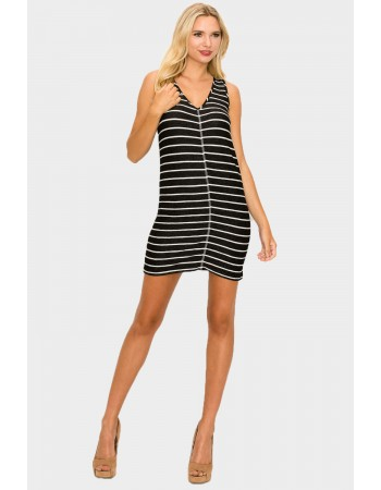 Stripe V Neck Tank Dress