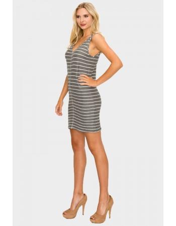 Stripe V Neck Tank Dress