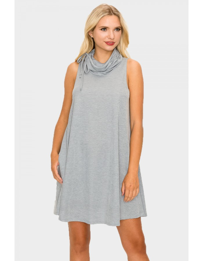 FUNNEL NECK POCKET DRESS