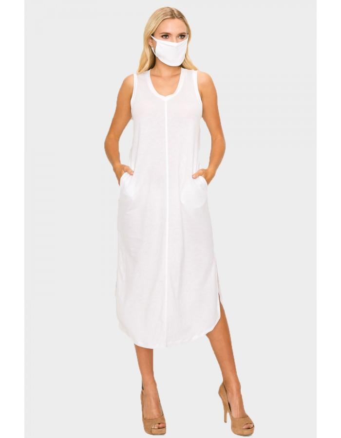 V NECK POCKET DRESS