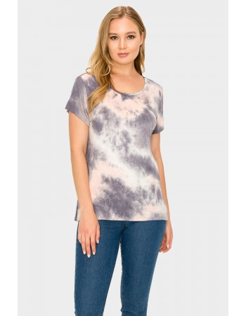 Tie Dye Short Sleeve Button Back Grey Peach