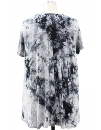 Tie Dye Short Sleeve Button Back Plus Size Grey Black