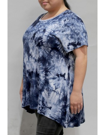 Tie Dye Short Sleeve Button Back Plus Size Blue Multi
