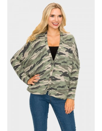 Camo Brushed Dolman Cardigan