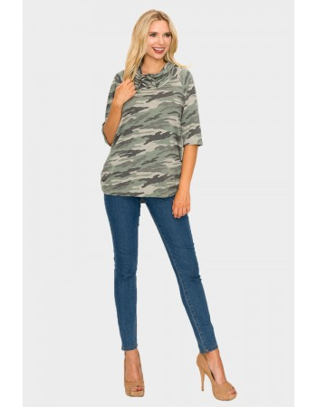 Camo French Terry Cowl Neck Ruched Side