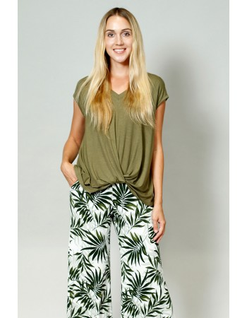 V-Neck Twist Front Top - Army