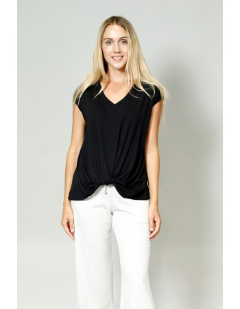 V-Neck Twist Front Top - Black