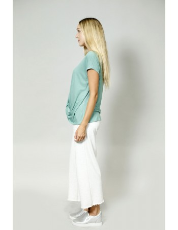 V-Neck Twist Front Top - Dusty Green