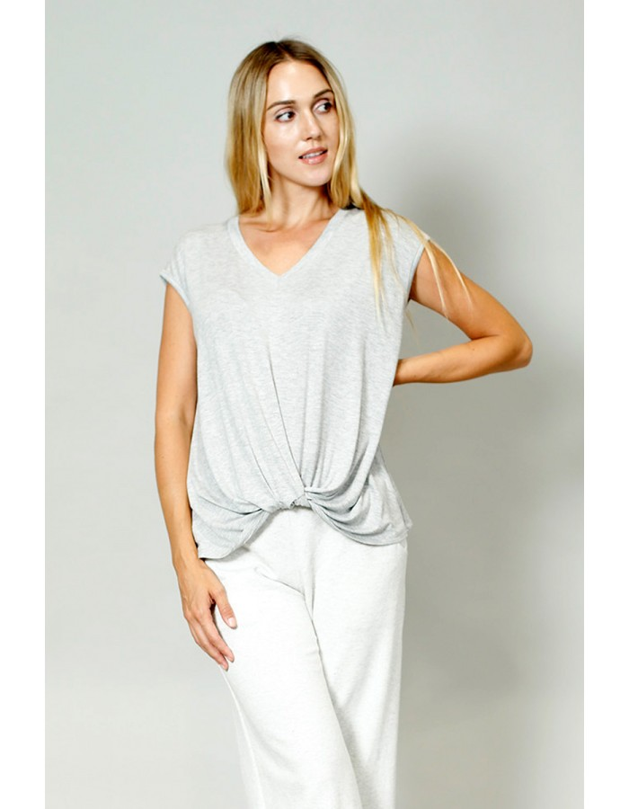 V-Neck Twist Front Top - Heather Grey