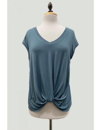 V-Neck Twist Front Top - Hunter Green