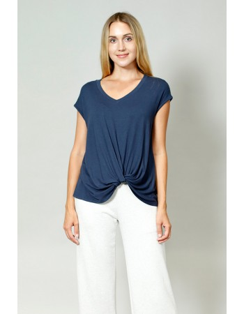 V-Neck Twist Front Top - Navy