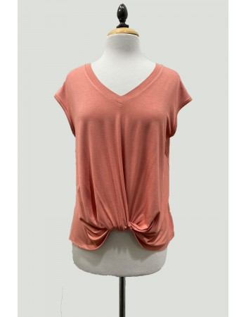 V-Neck Twist Front Top - Peach