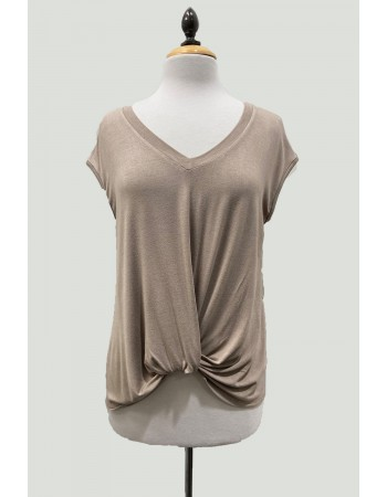 V-Neck Twist Front Top - Taupe