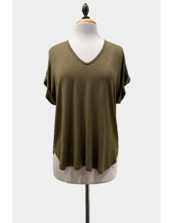 V Neck Rolled Sleeve - Army