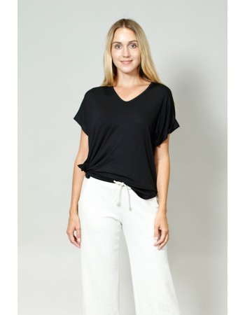 V Neck Rolled Sleeve - Black