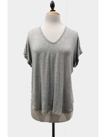 V Neck Rolled Sleeve - Heather Grey