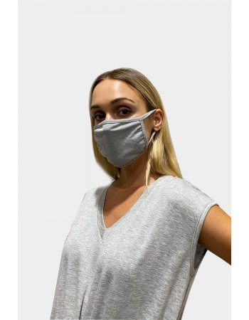 Chambray Jersey Mask - Heather Grey