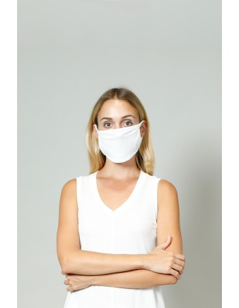Chambray Jersey Mask - White