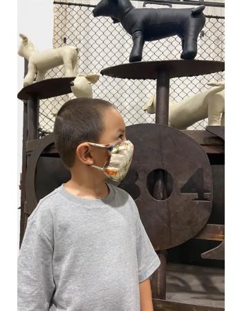 Kids Tie Dye Mask - Taupe Indigo