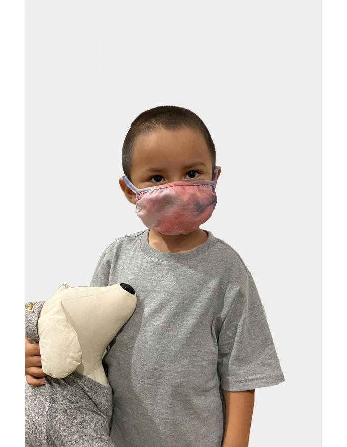 Kids Tie Dye Mask - Coral Slate