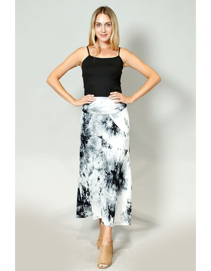Tie Dye Rayon Span Fold Over Maxi Skirt - Grey / Black