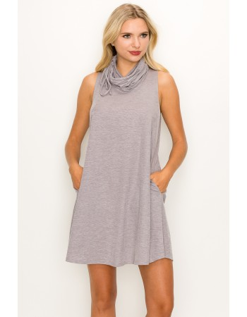 Funnel Neck Pocket Dress - Lilac