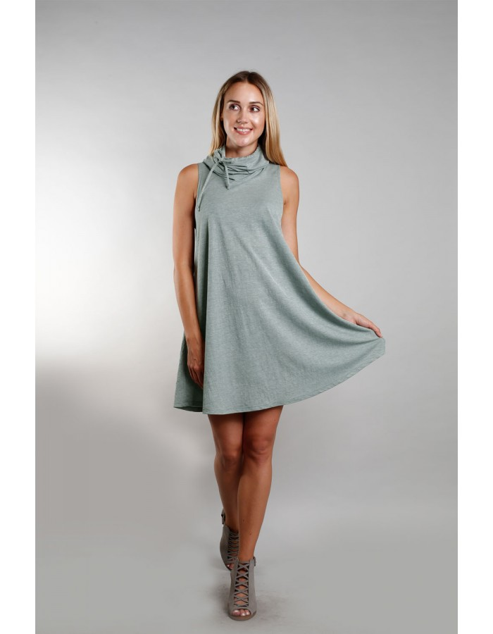 Funnel Neck Pocket Dress - Green