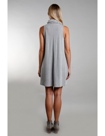 Funnel Neck Pocket Dress - Heather Grey