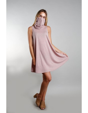 Funnel Neck Pocket Dress - Mauve