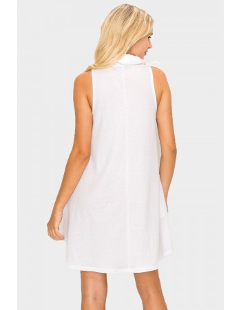 Funnel Neck Pocket Dress - White