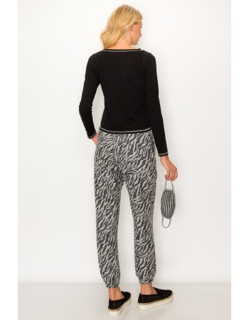 Zebra Print French Terry Jogger