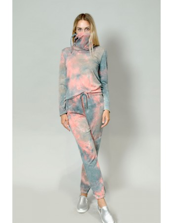 Multi Function Funnel Neck Built In Gaiter Tie Dye French Terry