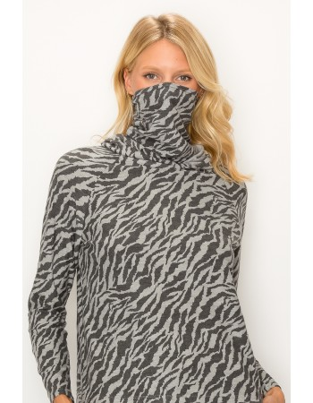 Multi Function Zebra French Terry Built in Gaiter Hoodie