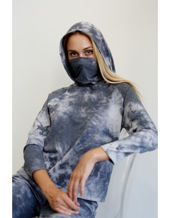 Multi Function Tie Dye French Terry Built in Gaiter Hoodie  - Grey Multi