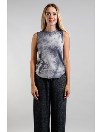 Tie Dye French Terry Curved Hem Tank Top - Grey Multi