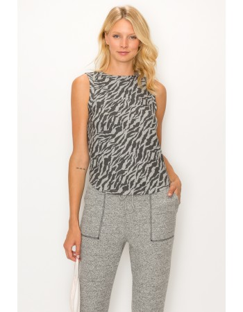 Zebra French Terry Curved Hem Tank Top
