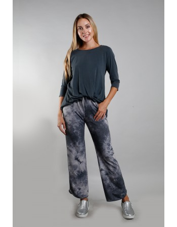 Tie Dye French Terry Vent Hem Pocket Pants - Grey Multi