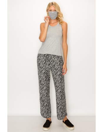 Zebra French Terry Vent Hem Pocket Pants