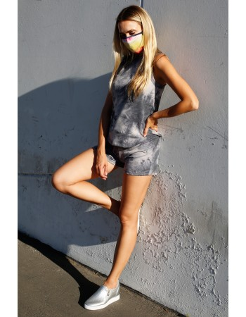 Tie Dye French Terry Basic Shorts - Grey Multi
