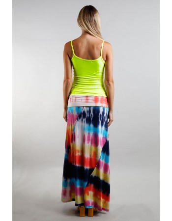Tie Dye Rayon Span Fold Over Maxi Skirt - Rainbow Multi