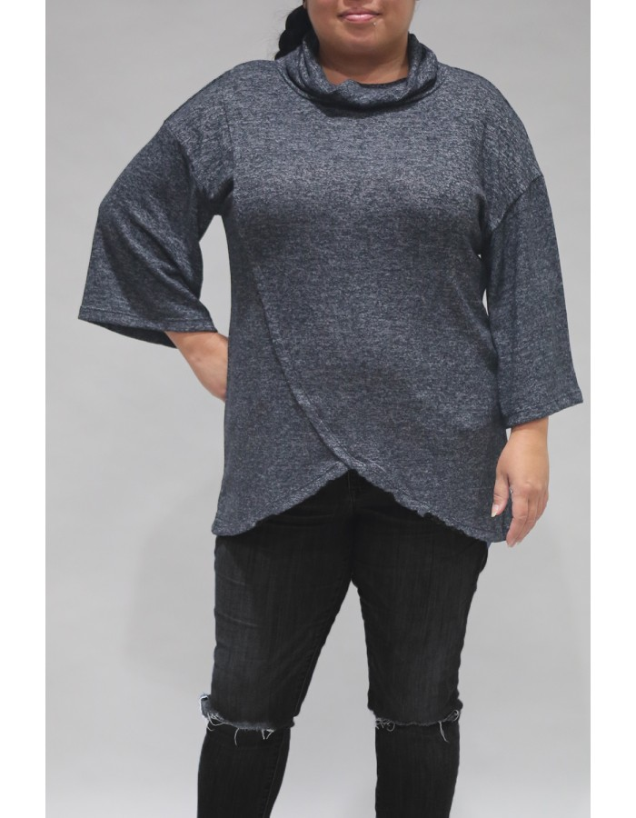 Ultra Soft Cozy Knit Surplice Cowl Neck - Charcoal