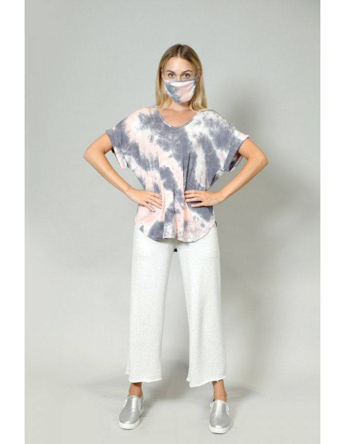 Tie Dye Mask Grey Peach