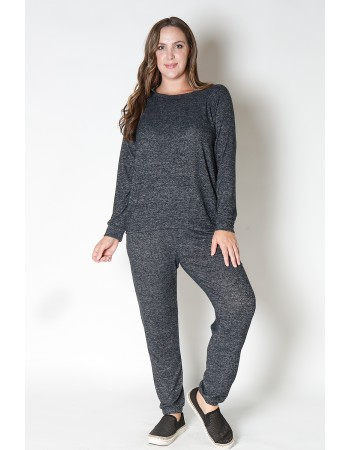 Cozy Knit Sweatshirt Curve - Charcoal