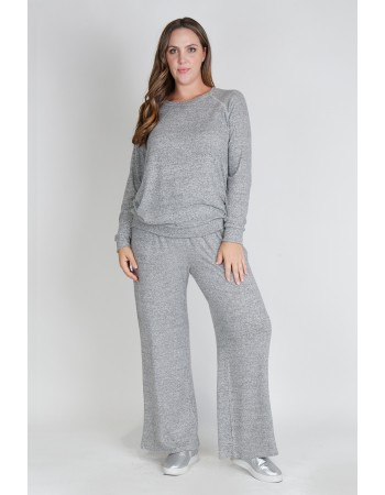 Cozy Knit Sweatshirt Curve - H.grey