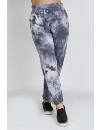Tie Dye French Terry Jogger Curve - Grey Multi