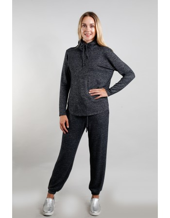 Cozy Built In Gaiter Long Sleeve - Charcoal