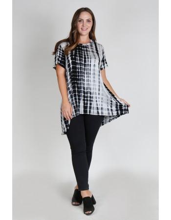 Tie Dye Short Sleeve Button Back Plus Size  Black White Bamboo