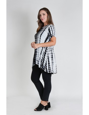Tie Dye Short Sleeve Button Back Plus Size  Black White Bamboo